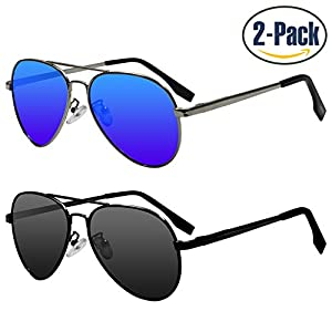Sunggles Kids Polarized Cat Eye Sunglasses for Boys & Girls Age 3 to 10,Pack of 2 (Boys : Aviator Black & Blue, Black & Blue)