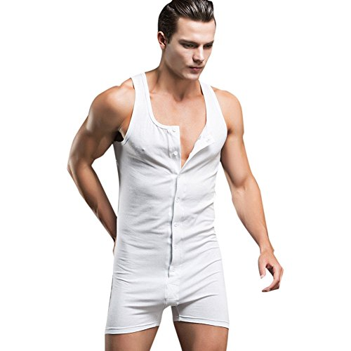 iEFiEL Mens Soft Cotton Button up Sleep in Bodysuit Home Wear Work Out Singlet White M by iEFiEL