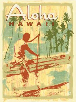 Aloha Outrigger Metal Sign: Surfing and Tropical Decor Wall Accent