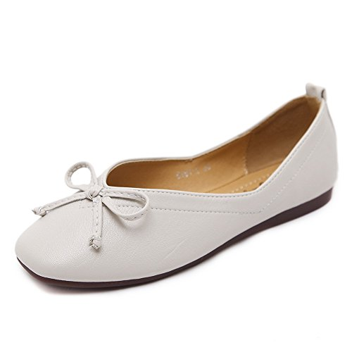 Apricot Square Shoes Low Bows Urethane Cut Apricot Toe Uppers Womens Flats AdeeSu xO0nZv