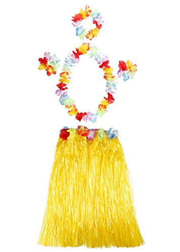 [Halloween Christmas Dress Grass Skirts Flower Bracelet Headband Necklace Costume Hawaii Adult Child Skirt 5 Pcs Adult Skirt] (Make Coconut Bra Costume)