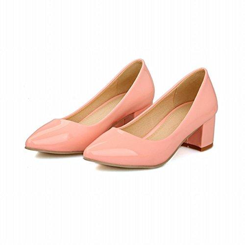 Carol Zapatos Chic Elegancia De Las Mujeres Del Pun ¢ O Puntiagudo Sexy Chunky Del Talón Medio Del Vestido Bombas Zapatos De Color Rosa