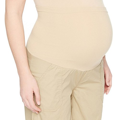 Oh Baby by Motherhood Secret Fit Belly Cuffed Maternity Shorts (Large, Khaki) Secret Fit Belly Cuffed Short