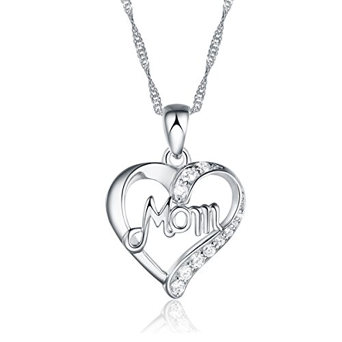 End of line clearance. 925 Silver Necklace – Adjustable Chain and Heart Pendant – Handmade with sparkling Crystal-like and Silver Mom Heart Pendant. Designed in England. High Quality. Designed Silver Pendant