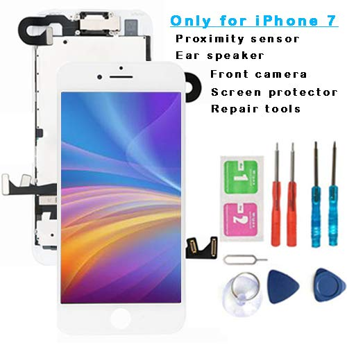 For iPhone 7 Screen Replacement LCD White 3D Touch LCD Full assembly- with [ Proximity Sensor] [ Ear Speaker] [ Front Camera] [ Repair Tools] Display Touch Digitizer Frame Assembly Full Repair Kit