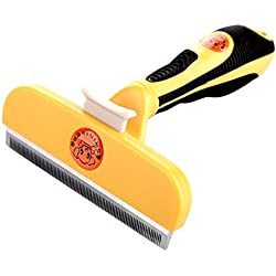 Sminiker Dog and Cat Deshedding Tool with 4-inch Edges Pet Grooming Tools with Release Button Shedding Long and Short Hair for Small Middle Large Cat and Dog