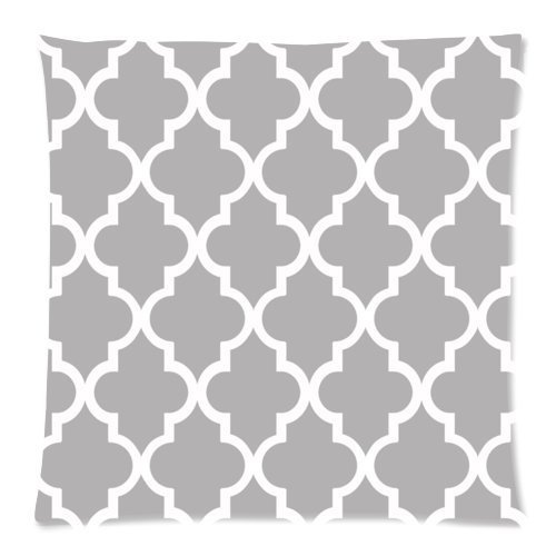 Quatrefoil-Grey-and-White-Lattice-Printed-Zippered-Pillowcase-Soft-Pillow-Case-Cover-18-x-18-Inches