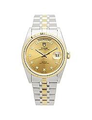 Tudor Men's Prince Date-Day 36mm Steel Bracelet & Case Automatic Gold-Tone Dial Watch 76213-62483-10DI-CH
