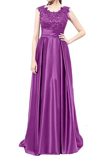 DressyMe Women's A-Line Long Lace Prom Dresses Round-Neck Sleeveless Pleated-2-Orchid