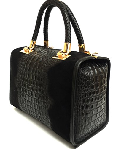 Italy Camoscio Croco Isa In Superflybags Coccodrillo Vera Borsa Made Bauletto Modello Pelle nero stampa In wOxvXf4Hqx