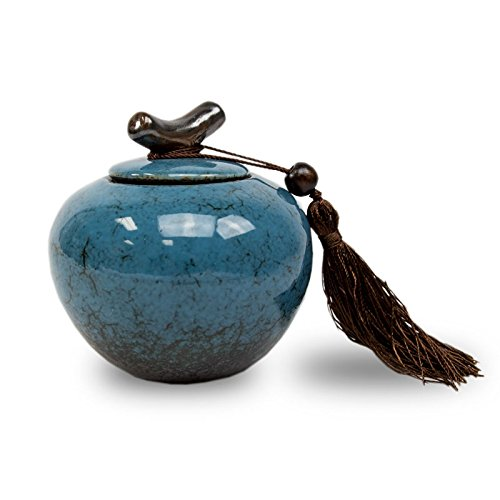 Branch Ceramic Memorial Keepsake Urns - Extra Small - Holds Up To 20 Cubic Inches of Ashes - Turquoise Blue Cremation Urn for Ashes - Engraving Sold Separately - Dynasty Urn
