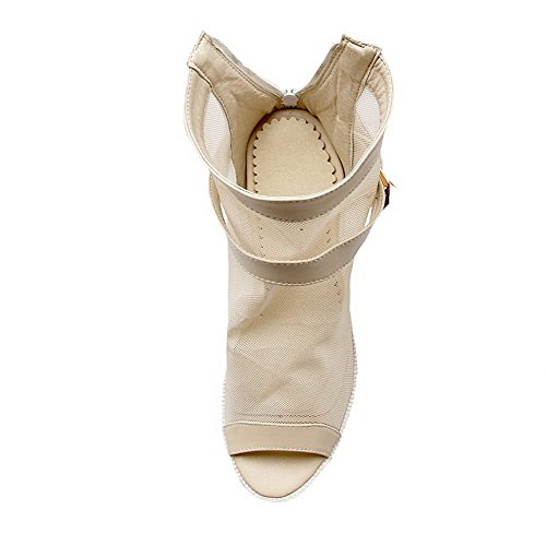 Solid Heels Beige On Toe Sandals Pull Pu Peep Womens High AmoonyFashion 8wYAq4nUU