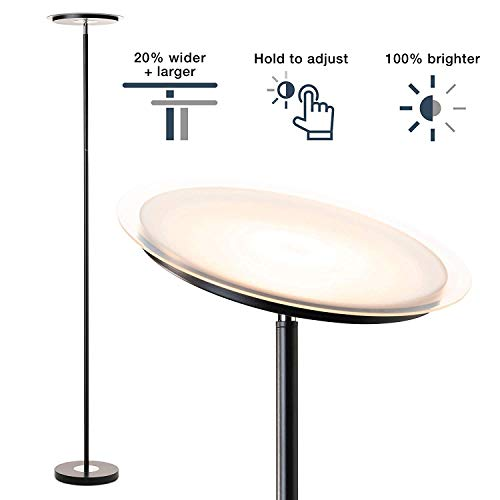 Dimmable Standing Torchiere Bright LED Floor Lamp for Living Room - Brightest Modern Uplight Floorlamp for Bedroom, Gunmetal Black - Gold Torchiere Lamp