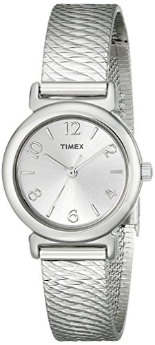 Timex Women's Elevated Classics Round Silver-Tone Case Mesh Dress Watch T2P307