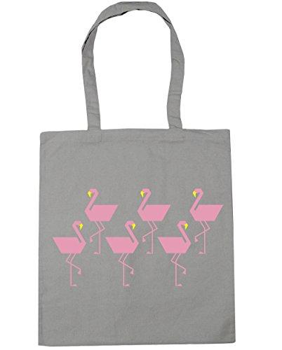 Tote Beach Light x38cm Pixel litres Shopping 42cm Gym 10 HippoWarehouse Bag Grey Flamingo EXCPq