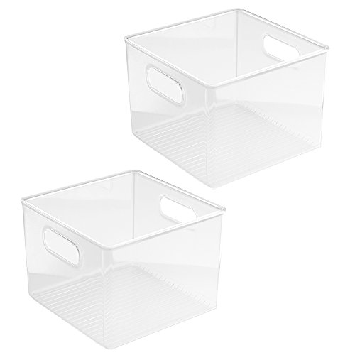 InterDesign Kitchen Pantry and Cabinet Storage and Organization Bin, 8-Inch by 8-Inch by 6-Inch, 2 Pack, Clear