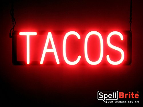 SpellBrite Ultra-Bright TACOS Sign Neon-LED Sign (Neon look, LED - Sign Neon Authentic