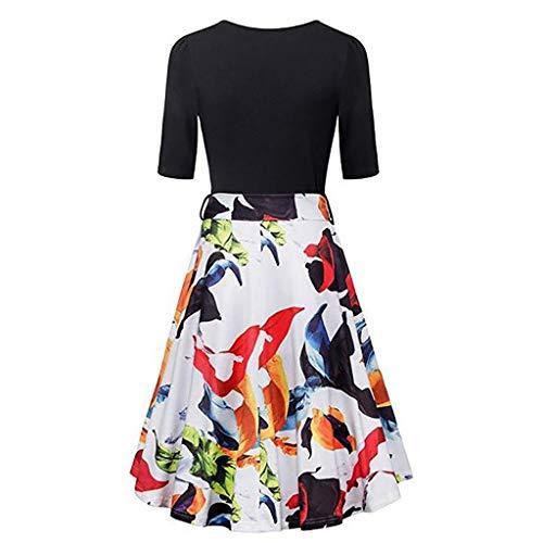 (TnaIolral Womens Vintage Flared A-Line Dress with Belt Floral Cross V- Neck Dresses)