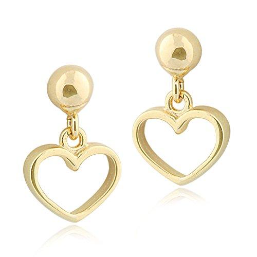 Designed 14k Gold Butterfly Charm - UNICORNJ Childrens 14k Yellow Gold Open Heart Dangle Post Earrings Italy