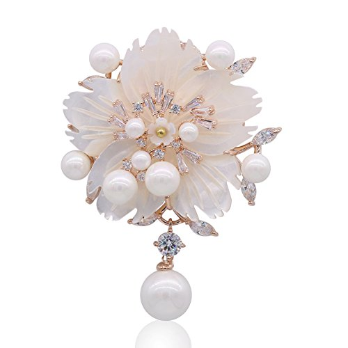 SHANLIHUA Brooch Pin Fashionable Accessories Shell Pearl Crystal Flower Brooches Safety Pin Gold for Women ()