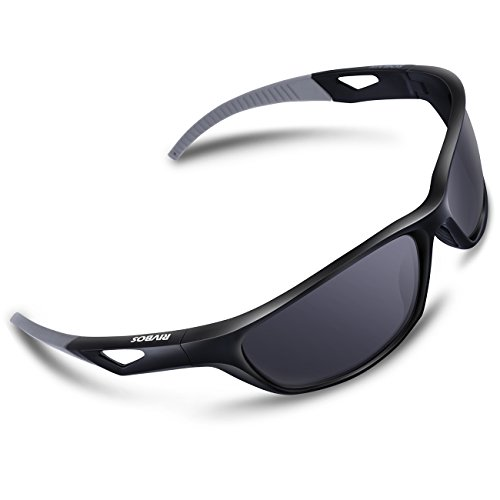 RIVBOS Polarized Sports Sunglasses Driving Sun Glasses for Men Women Tr 90 Unbreakable Frame for Cycling Baseball Running Rb831 (Black&Grey) (Sports Sunglasses Women For)