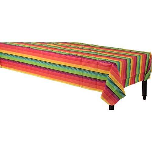 Amscan Festive Cinco de Mayo Party Flannel-Backed Vinyl Table Cover (2 Pack), Multi Color, 15 x 9.5''