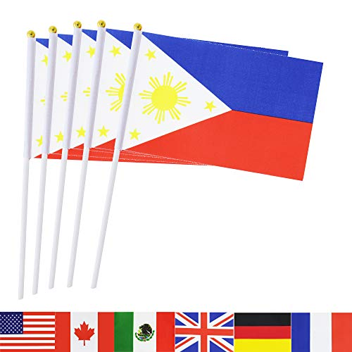 (TSMD Philippines Stick Flag, 50 Pack Hand Held Small Filipino National Flags On Stick,International World Country Stick Flags Banners,Party Decorations for Olympics,Sports Clubs,Festival Events)