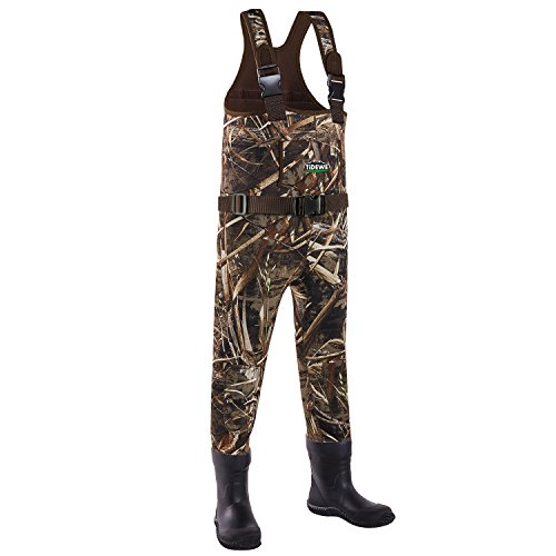 TideWe Chest Wader for Toddler & Children, Neoprene Waterproof Insulated Hunting Wader for Boy and Girl, Cleated Bootfoot Wader, Hunting & Fishing Wader Realtree MAX5 Camo (Size 8\9)