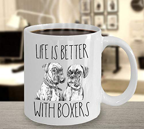 Gift for Boxer Dog Lover Life is Better With Boxers Boxer Mom Boxer Dog Mug Boxer Coffee Cup Dog Art Boxer Dad