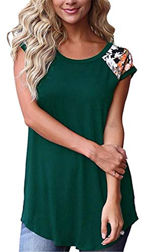 UGET Womens Casual Floral Print Color Block Short Sleeve T Shirts Blouses Tops Green ()