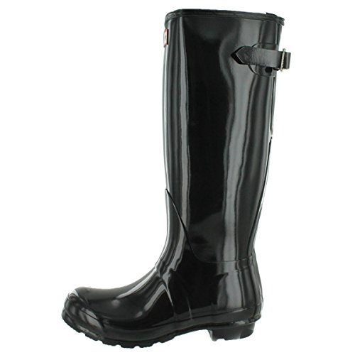 Hunter Boots Women's Original Back Adjustable Gloss Tall Rain Boot Black 11 M US by Hunter