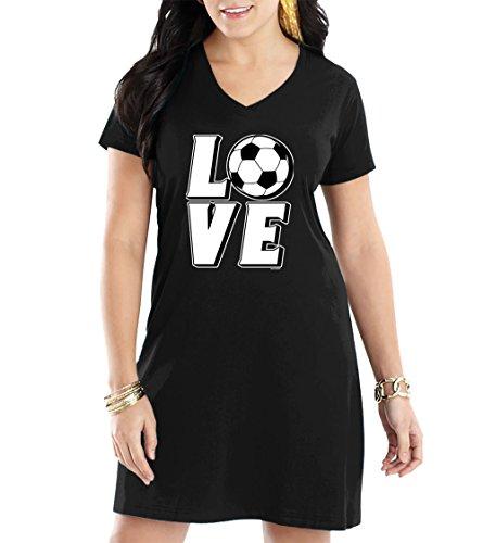 Women's Love Soccer V-Neck Nightshirt (Black, Small/Medium)