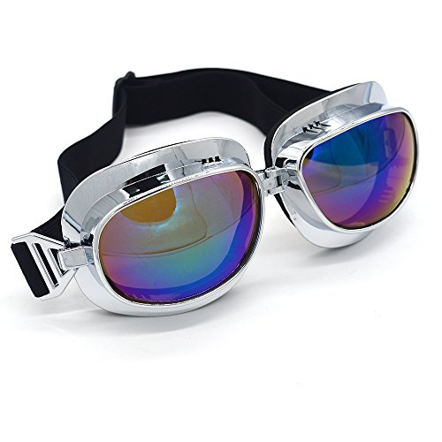 Evomosa Motorcycle Goggles Retro Vintage Motocross Off-Road ATV Pilot Goggle Eyewear Sports Glasses Snowboard Ski Bikes Helmet Goggles (Silver, Blue) by Evomosa (Image #3)