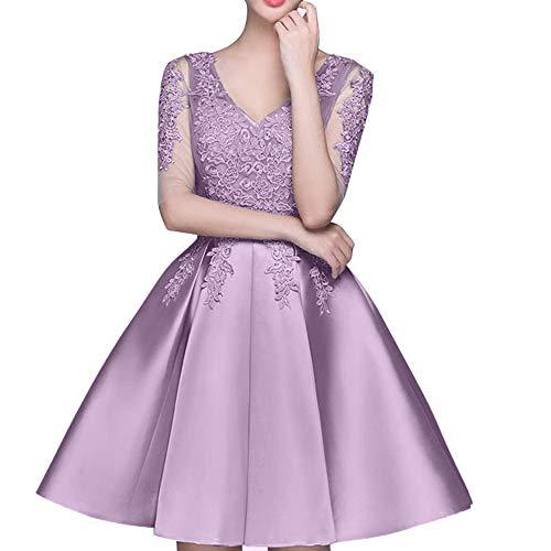Cocktailkleider Mini Abendkleider Partykleider Tanzenkleider La Marie Braut Rock Einfach Flieder Spitze qZIx6SRw