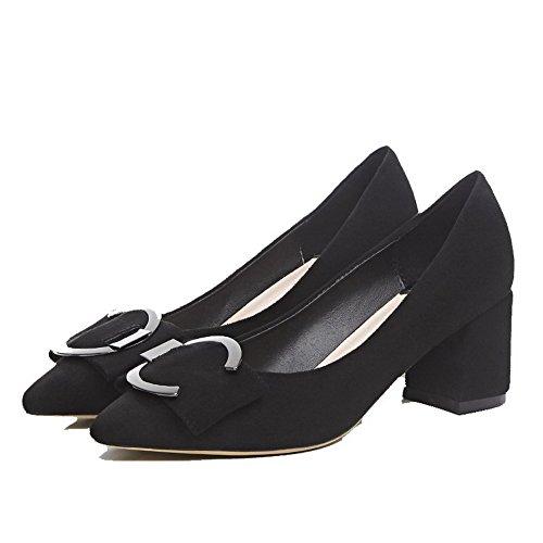 AllhqFashion Damen Mittler Absatz Mattglasbirne Rein Ziehen auf Spitz Zehe Pumps Schuhe Schwarz