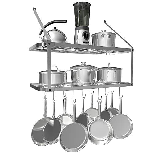 VDOMUS Shelf Pot Rack Wall Mounted Pan Hanging Racks 2 Tire (Silver)
