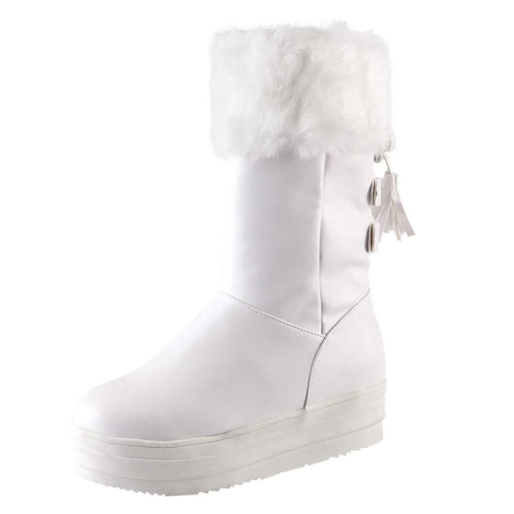 Qiusa Stiefeletten Frauen Winter Schnee Chukka Einlegesohlen Schuhe Pelz Flache Ferse Plattform Wildleder Goth Martin Reiten Militärische Taktische Größe 3-10 (Farbe   Weiß Größe   3 UK)