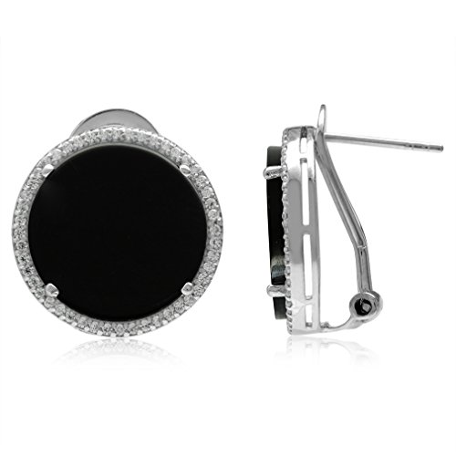 (15MM Round Disc Shape Created Black Onyx 925 Sterling Silver Omega Clip Post Earrings)