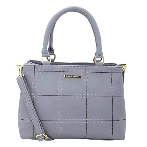Lapis O Lupo Women Vegan Leather Handbags Square Fashion Satchel Bags Shoulder Purses Top Handle