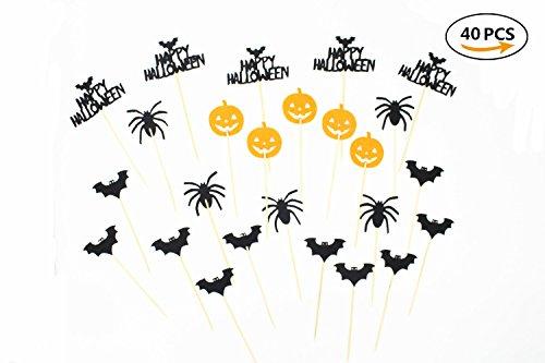 40 Pieces Halloween Cupcake Toppers Pumpkin , Witch,Ghost, Bat Cupcake Toppers for Halloween Party (Different Halloween Cupcakes)