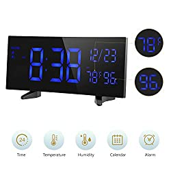PICTEK Digital Alarm Clock, 6.5'' Dimmable Curved LED Display Digital Clock with Indoor Temperature, Humidity and Date, Dual Alarms, Weekend Mode, Snooze, 12/24 Hour, Battery Backup, Power Adapter
