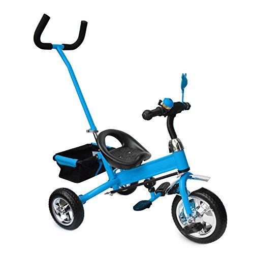 Kinderdreirad mit SERVOLENKUNG blau, Kinderfahrrad, Korb, drehbare Lenkstange mit Steuerung, Beinstellen, Dreiräder