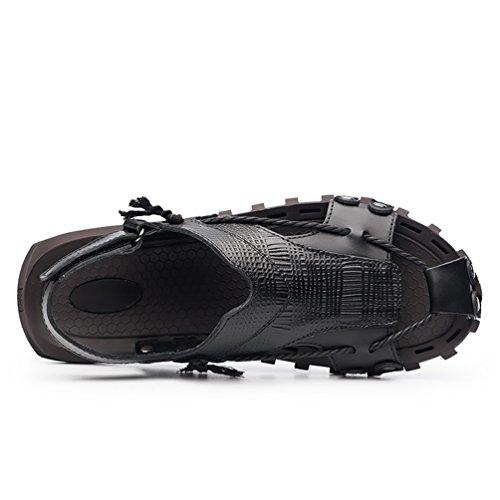 ailishabroy Men's Black Real Leather Adjustable Touch Fasten Comfort Gladiator Summer Sandals Shoes Black eymUdAwV