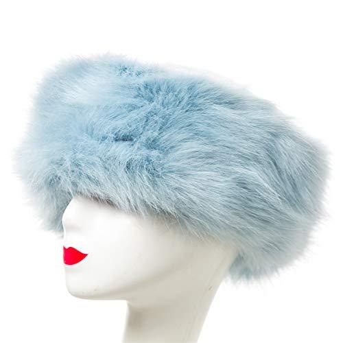 Lucky Leaf Cozy Warm Hair Band Earmuff Cap Faux Fox Fur Headband with Stretch for Women (B1-Light Blue)