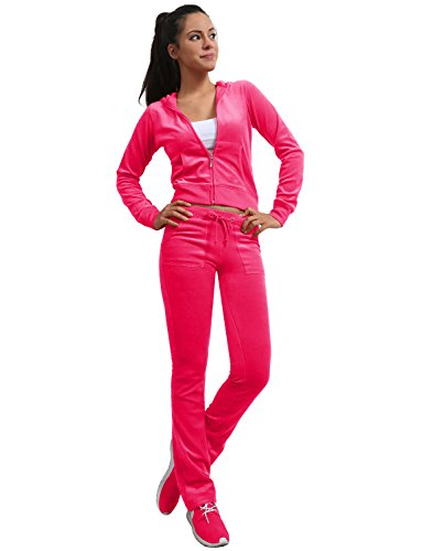 J. LOVNY Women's Active Casaul Velour Hoodie and Sweatpants Tracksuit Set -