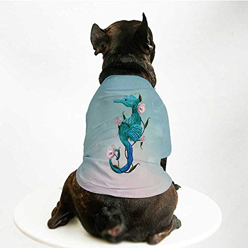 YOLIYANA Surrealistic Comfortable Pet Suit,Seahorse with Rose Flowers Nautical Elegance Underwater Design Decorative for Teddy Chihuahua Bichon,S