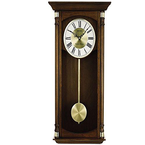 Seiko Executive Dark Brown Solid Case Metal Grain Silver Dial Desk Clock - QXH069BLH