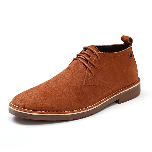 GOLAIMAN Men's Classic Genuine Suede Leather Chukka Boots Lace up Casual Oxfords Shoes Ankle Desert Boot (Khaki (Men Suede Leather Shoe)
