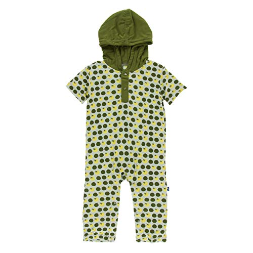 Kickee Pants Little Boys Print Short Sleeve Hoodie Romper - Aloe Tomatoes, 3-6 Months