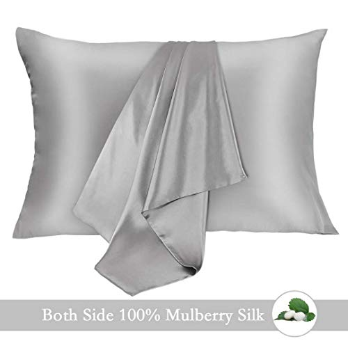 JOGJUE Silk Pillowcase for Hair and Skin 2 Pack 100% Mulberry Silk Bed Pillowcase Hypoallergenic Soft Breathable Both Sides Silk Pillow Case with Hidden Zipper, Standard Size Pillow Cases (Grey)
